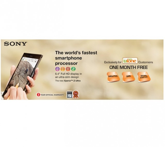 Ufone brings Sony Xperia Z Ultra with 1 month FREE offer