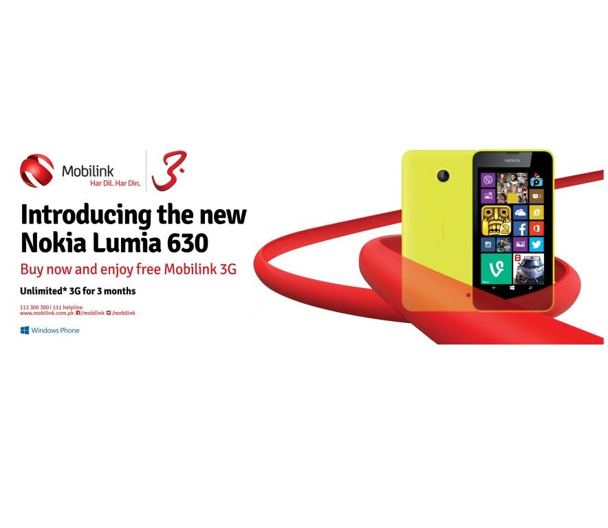 Mobilink launches 3G enabled Nokia Lumia 630