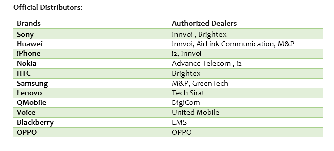 Mobile Phone Distributors in Pakistan
