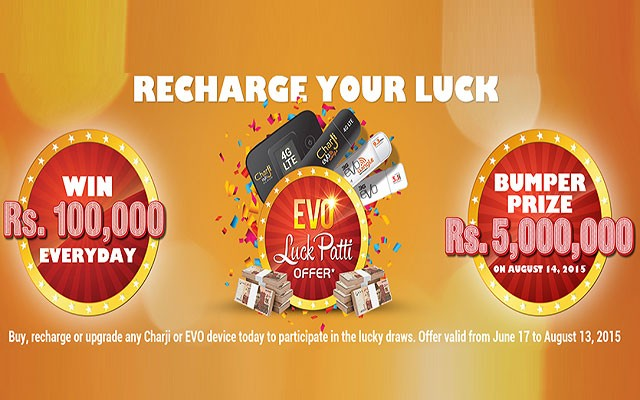 PTCL Offers Cash Prize for its Charji and Evo Customers