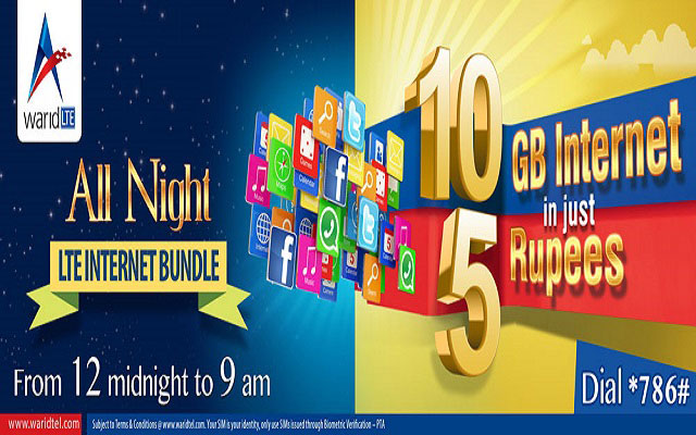Warid Brings All Night Internet Offers