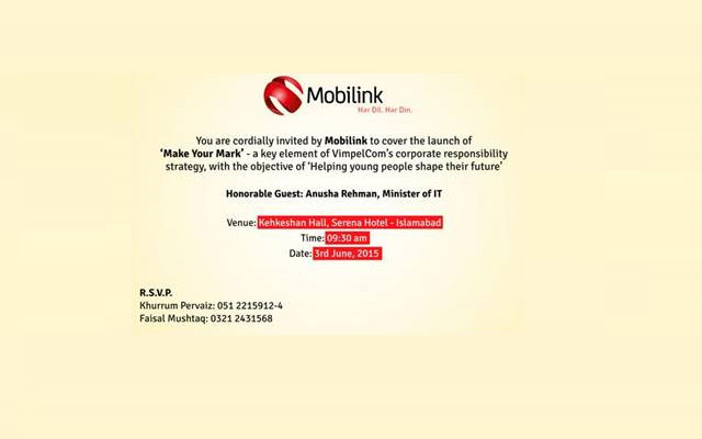 "Mobilink Plans to Launch ""Make Your Mark Event"""