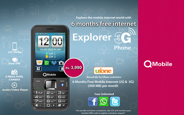 Ufone Offers 6 Months Free Internet on Purchase of QMobile Explorer 3G