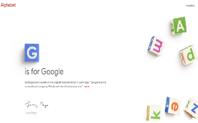 Google is now owned by Alphabet Company