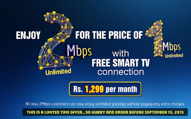 PTCL Offers 2Mbps Broadband on Price of 1Mbps with Free Smart TV Connection