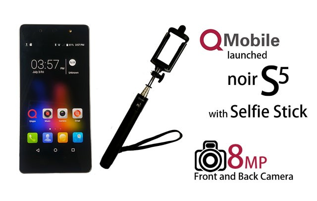 qmobile noir s5 the first smartphone that comes with a selfie stick. Black Bedroom Furniture Sets. Home Design Ideas