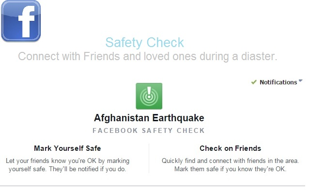 Facebook Checks the Safety Status After Yesterday Earthquake