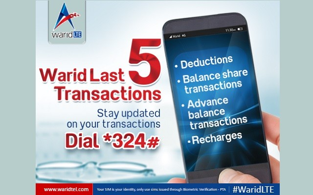 Now Stay Updated With Warid Last 5 Transaction
