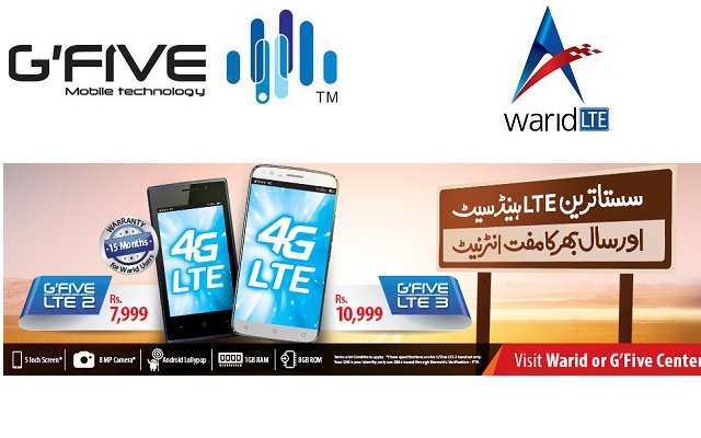 Warid Brings Free 4G Internet on Purchase of G'Five LTE 2 and LTE 3