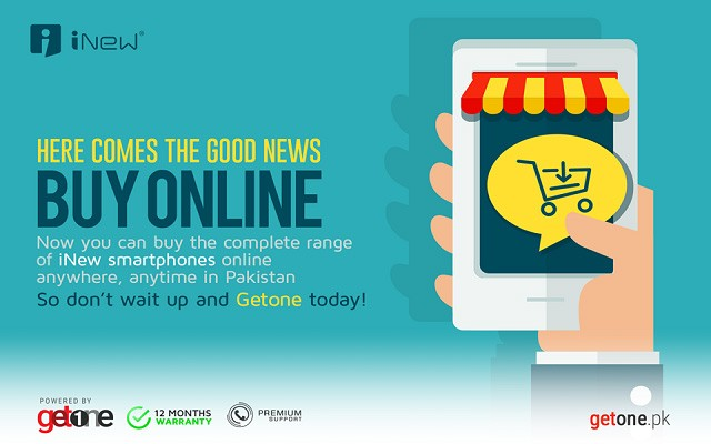 iNew Smartphone Partners with Getone.PK for Online Sales of its Smartphones all over Pakistan