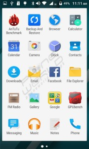 QMobile Noir i7i menu interface
