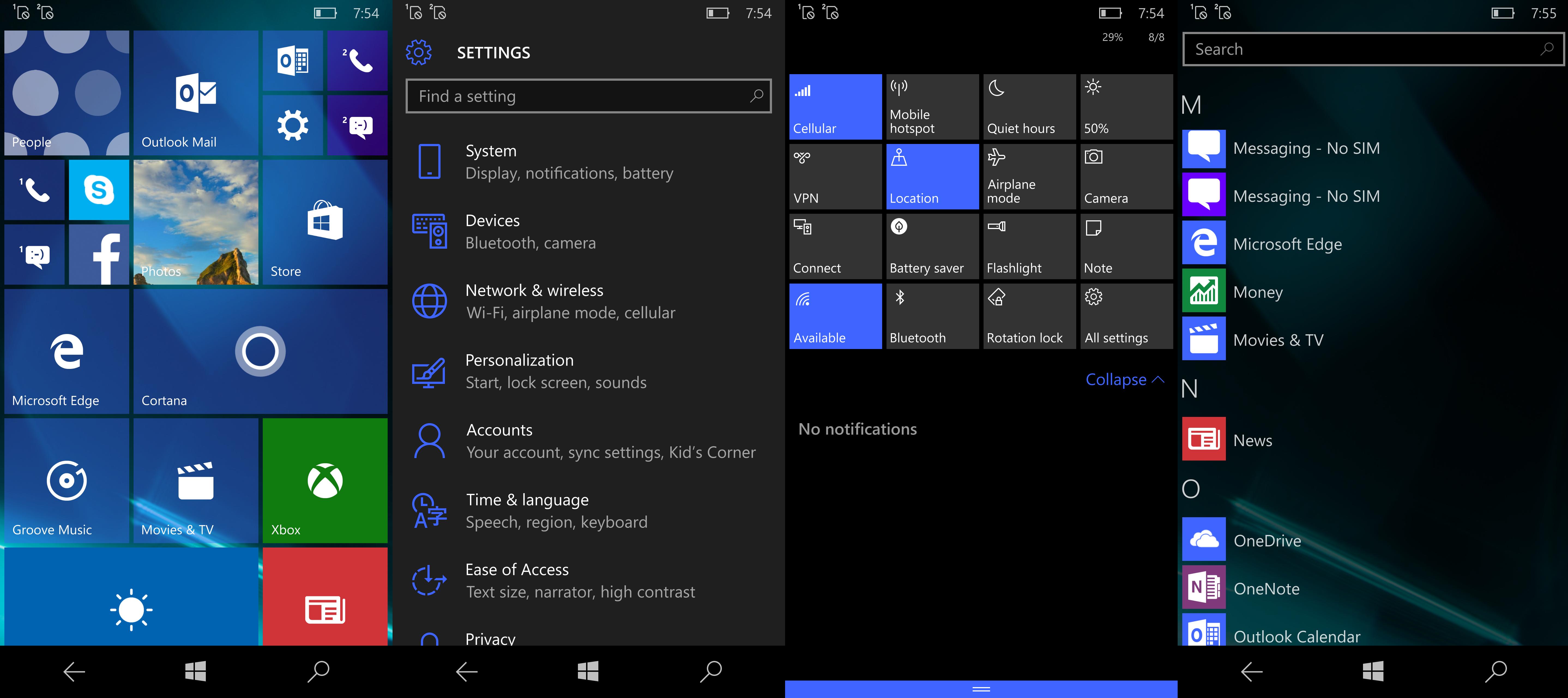 Microsoft Lumia 950 Interface