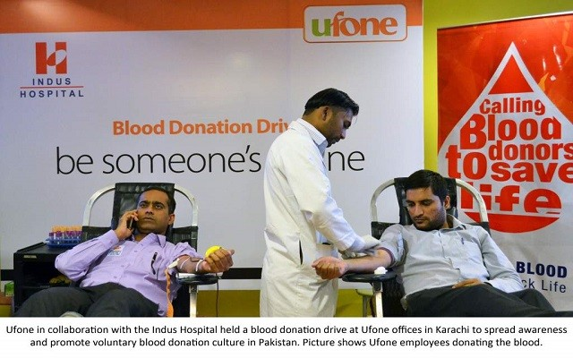 Ufone and Indus Hospital Collaborate for Blood Donation