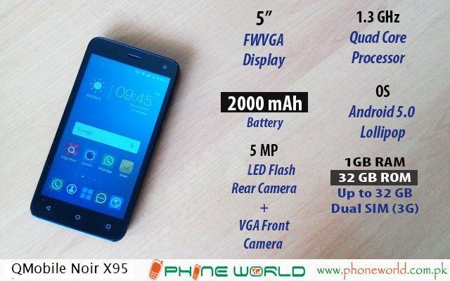 QMobile Presents Noir X95 with a Stunning 5MP Camera at Rs.8500