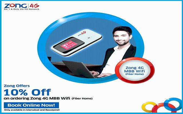 Zong Offers 10% Off on Online Ordering 4G MBB WiFi Device