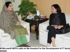 GM Microsoft NEPA calls on Ms Anusha For the Development of IT Sector in Pakistan