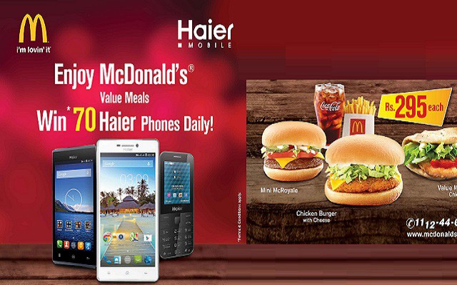 Win 70 Haier Mobile Phones Daily on Every Purchase of McDonald's Value Meal