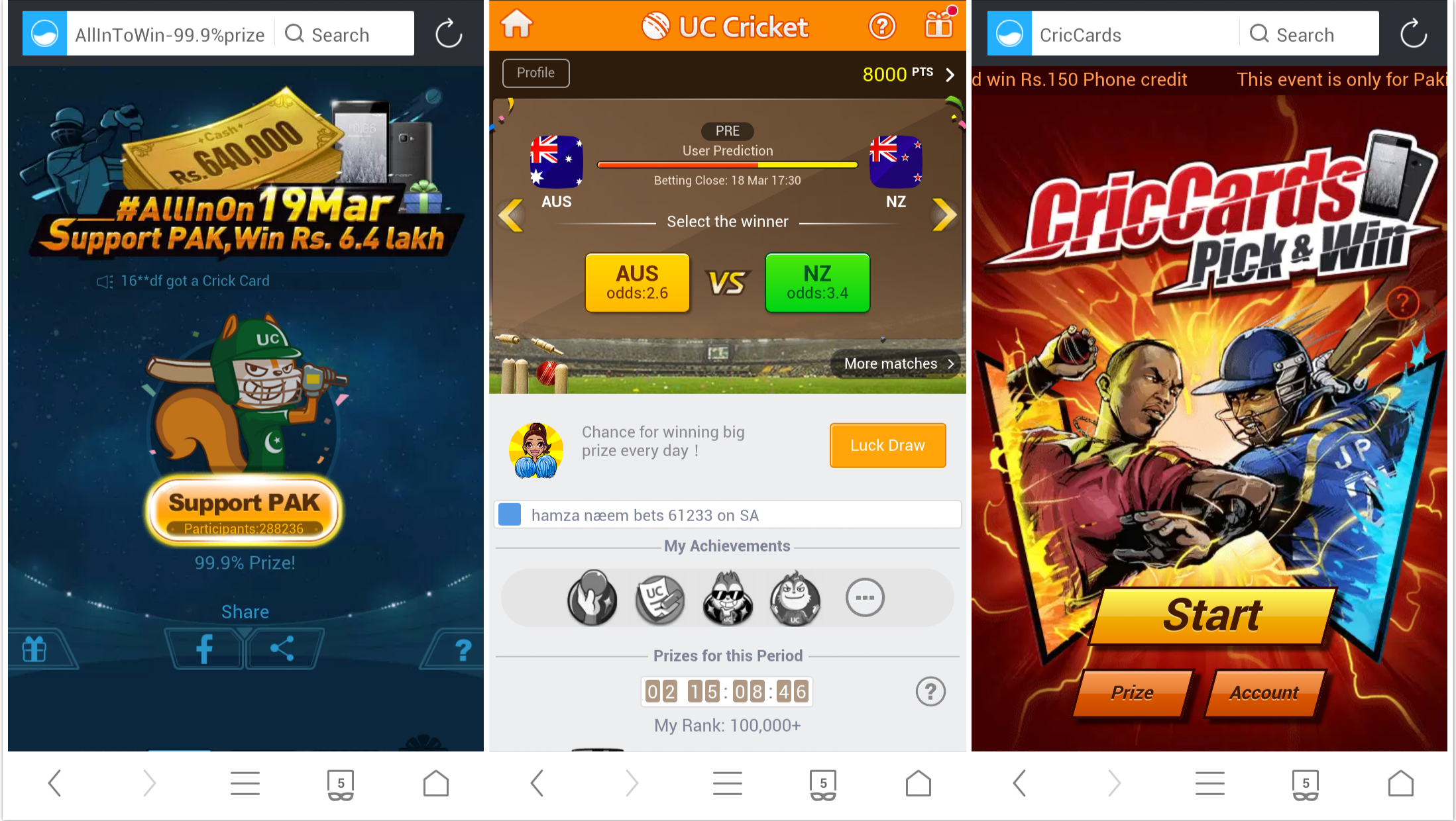 UC Browser launches 1st series of Cricket Themed Web Games for Pakistani users