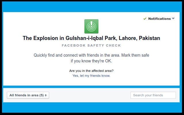 Facebook Excuses for Safety Check Malfunction After Lahore Explosion