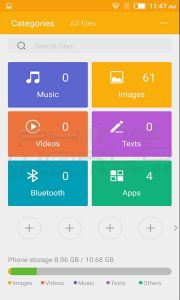 infinix hot 3 file manager inteface