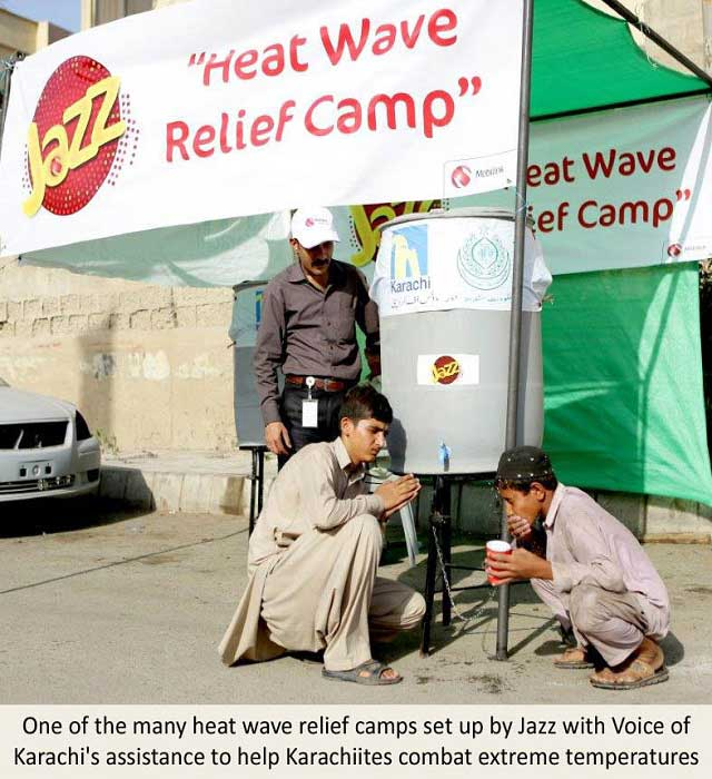 Jazz Heat-Wave Relief Camps Active for General Public in Collaboration with Voice of Karachi
