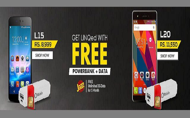 Daraz.pk Offering QMobile L20 and L15 with Free Power Bank and One Month Unlimited Jazz Internet