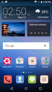 qmobile noir a6 homescreen interface