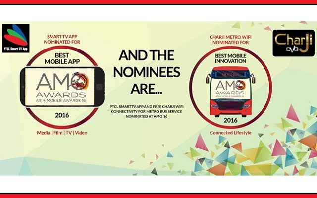 PTCL ‪SmartTVApp‬ & CharJi‬ ‪‎Metro Bus‬ Wifi Service Nominated for AMO Awards‬ 2016
