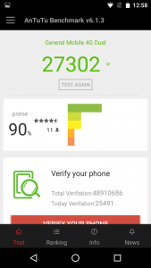 general mobile 4g dual antutu benchmark score