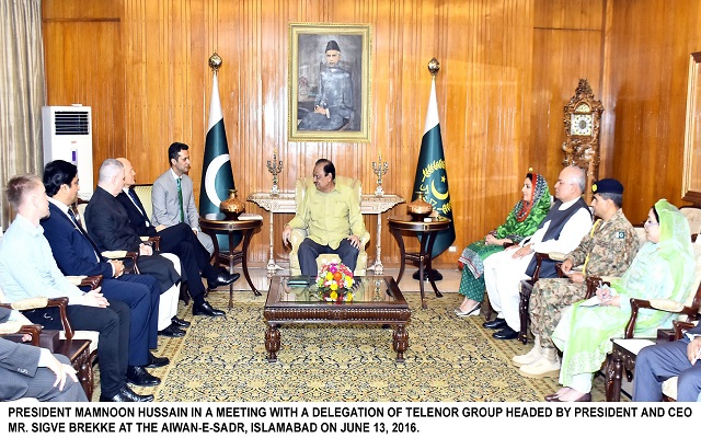 President and CEO of Telenor Group Meets Pakistani President