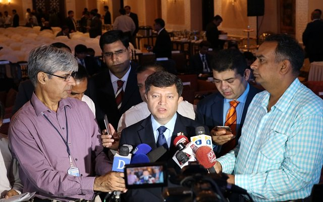 Chairmam PTA Dr. Ismail Shah while answering media questions