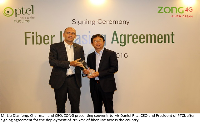PTCL and ZONG SignFfiber Leasing Agreement