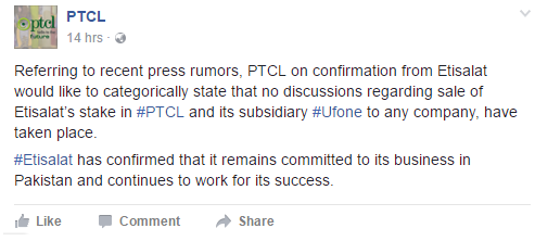 PTCL and Ufone Sale not on the Card- PTCL Responds to the Sale News