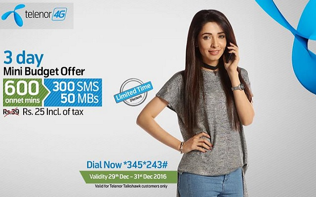 Telenor Talkshawk Introduces 3Day Mini Budget Offer