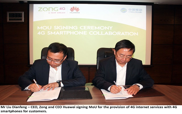 Huawei, QMobile Handsets to offer Zong's fastest 4G Services