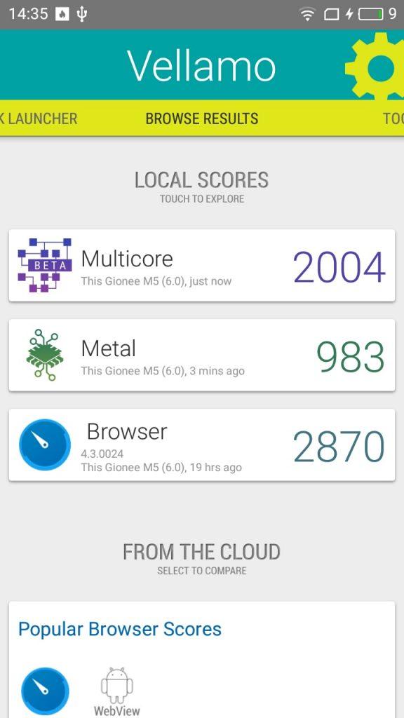 Meizu M5 Vellamo Benchmarking