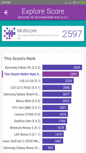Xiaomi Redmi Note 4 vellamo benchmarking