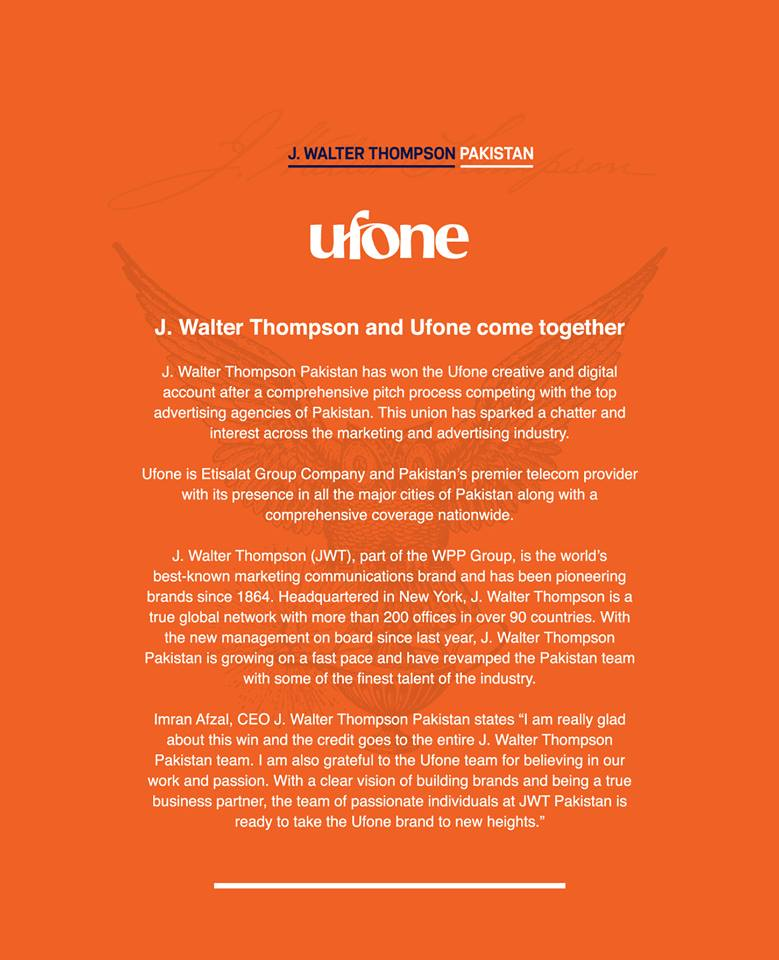 J. Walter Thompson Pakistan Wins Ufone Creative and Digital Account