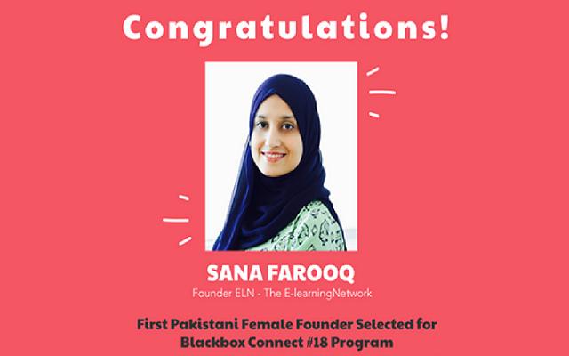 Pakistani Entrepreneur Sana Farooq Selected for Prestigious Blackbox Connect Silicon Valley Event