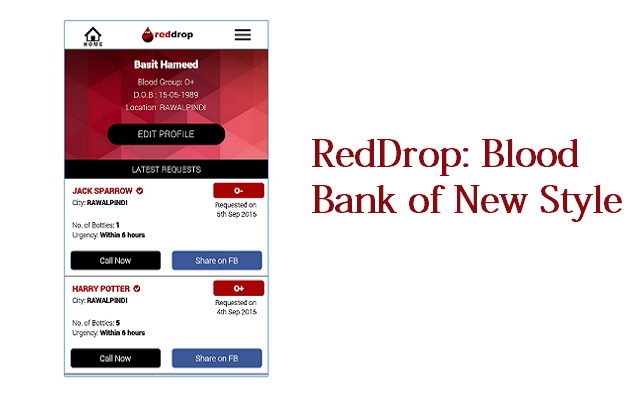 RedDrop: An App Based Blood Bank that Quickly Arranges Blood