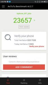 lephone w7 plus antutu scores and comparison results