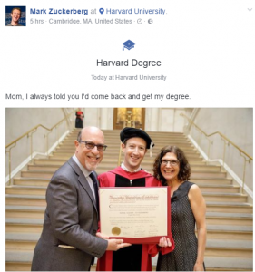 Facebook Boss, Mark Zuckerberg Got Harvard Degree After 13 Years