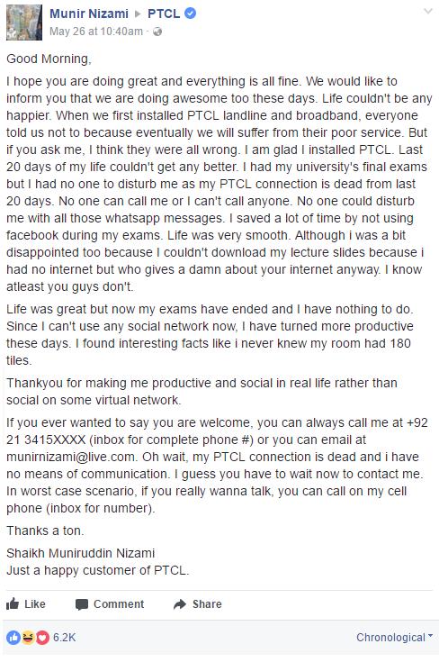 A PTCL Customer Sarcastic Facebook Complaint Went Viral & Gets the Job Done