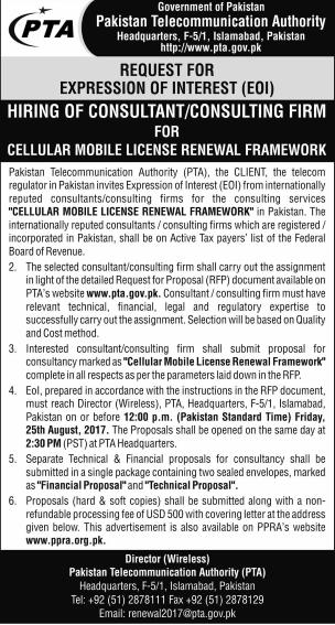 Mobile licenses Renewal - PTA invites EOI for Consultants