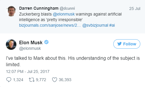 "Billionaire Musk Calls Zuckerberg's Understanding of AI Threat as ""Limited"""