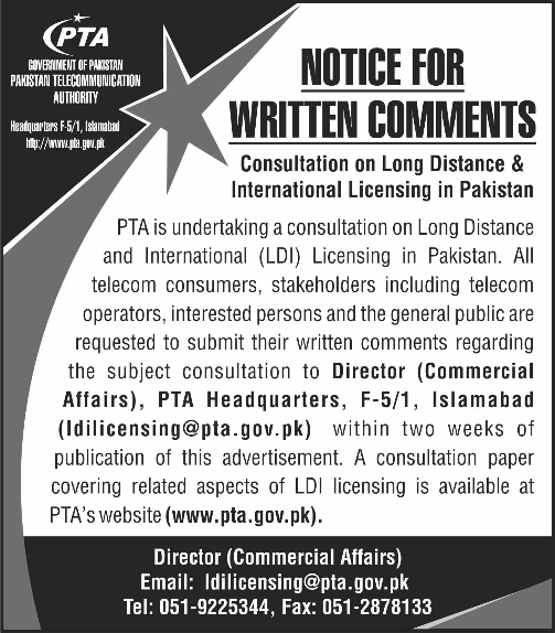 PTA Invites Suggestions for the Consultation of New LDI Licensing in Pakistan
