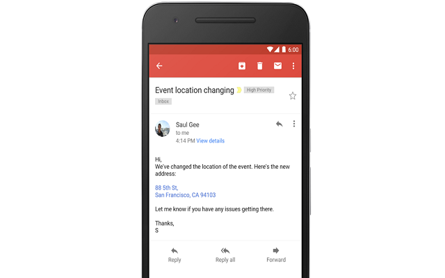 Gmail new Update Turns the Contact Info Into Links in Emails