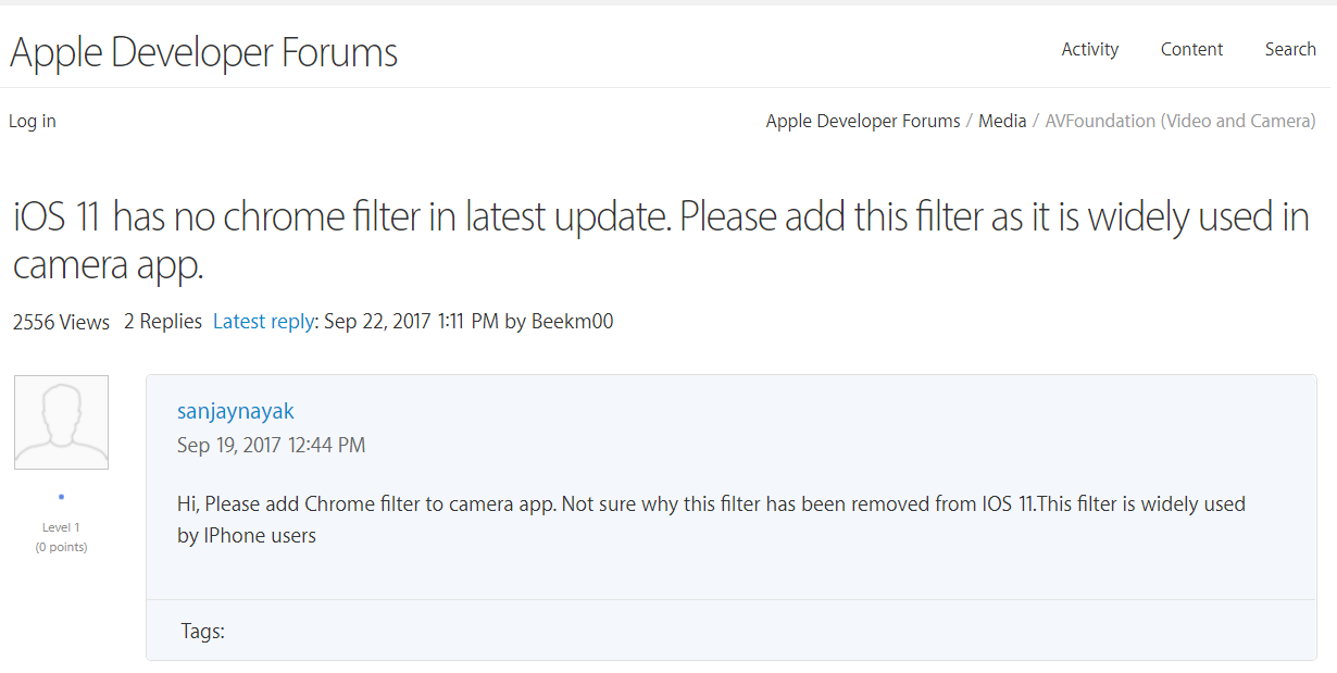 iOS 11 Disappoints Users after Removing the Famous Chrome Filter