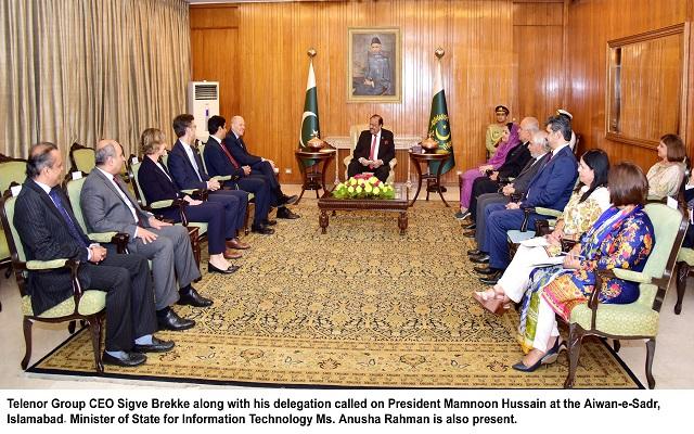 CEO Telenor Group Visits Pakistan & Calls on President Mamnoon Hussain