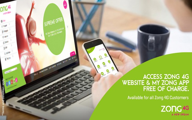 Zong 4G Provides Free Access to My Zong App and Zong 4G Website